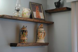 Some Thick Wood Shelves To Display Your Stuff Or As Bookshelves Surprising Ideas On Gray Paint Wall With Clic