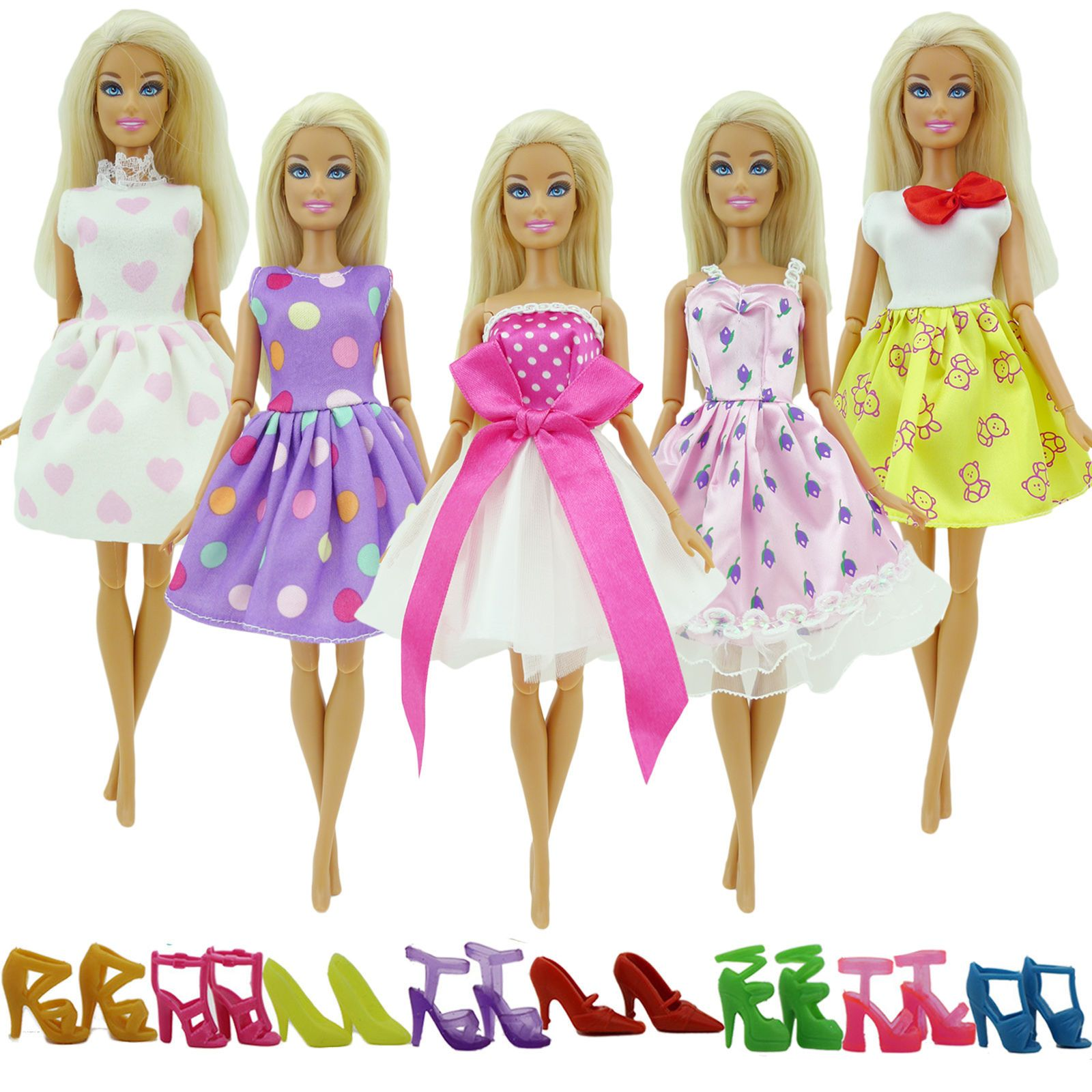 10 Pairs  Shoes Party Dress Doll Shoes  Dolls Accessories Gifts!