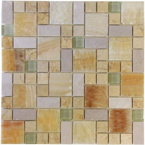 Onyx And White Marble Mixed With Glossy Green Glass Mosaic Tile Mesh Backed Sheet 12 X 12 Inch Amazon Com Mosaic Glass Mosaic Tiles Glass Mosaic Tiles