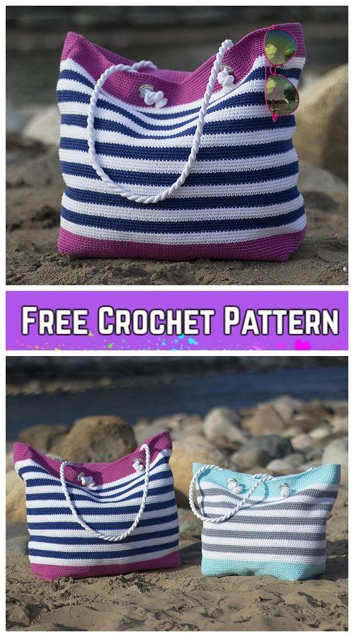 Crochet Classic Beach Bag Free Crochet Pattern More Project Ideas