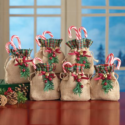 Holiday Burlap Treat Bags  Set of 6 is part of Christmas decorations rustic - 2 L x 6 W  Burlap, polyester, cotton and plastic; imported