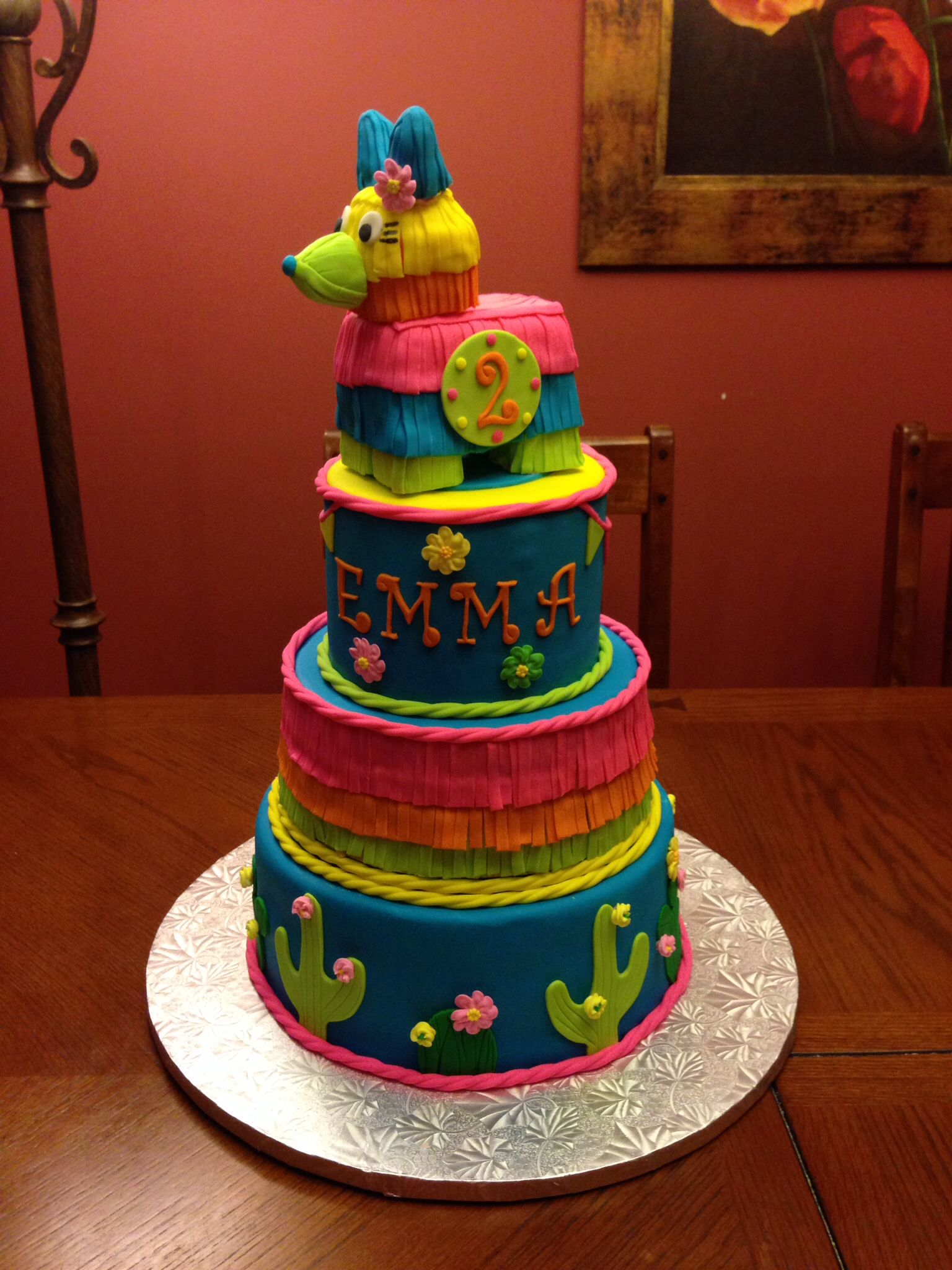 First Birthday Fiesta Cake Happy 1st Birthday Emma