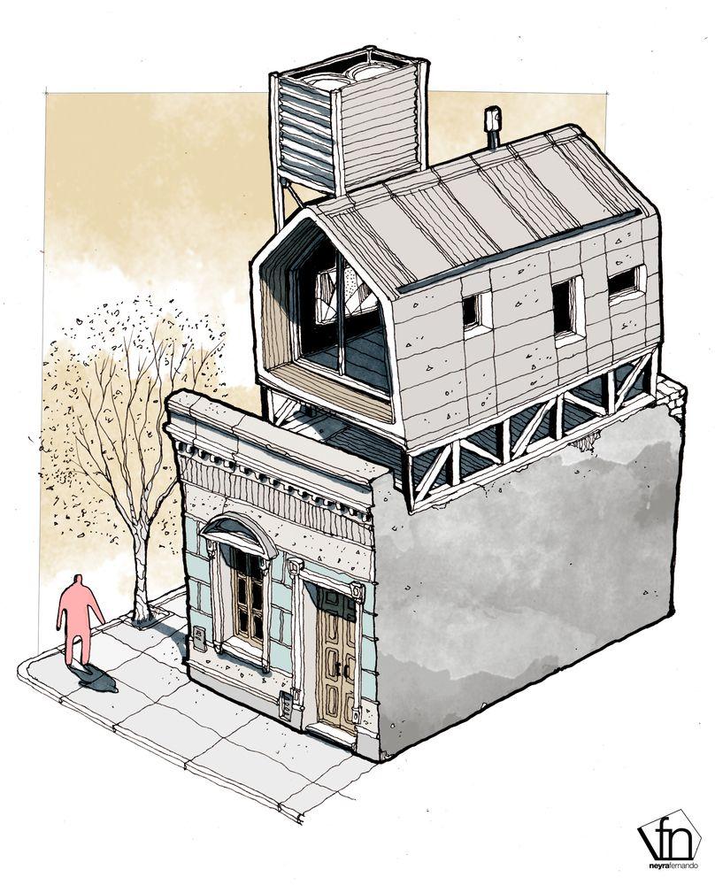 Galer a de la arquitectura oculta a mano alzada por - Alzado arquitectura ...