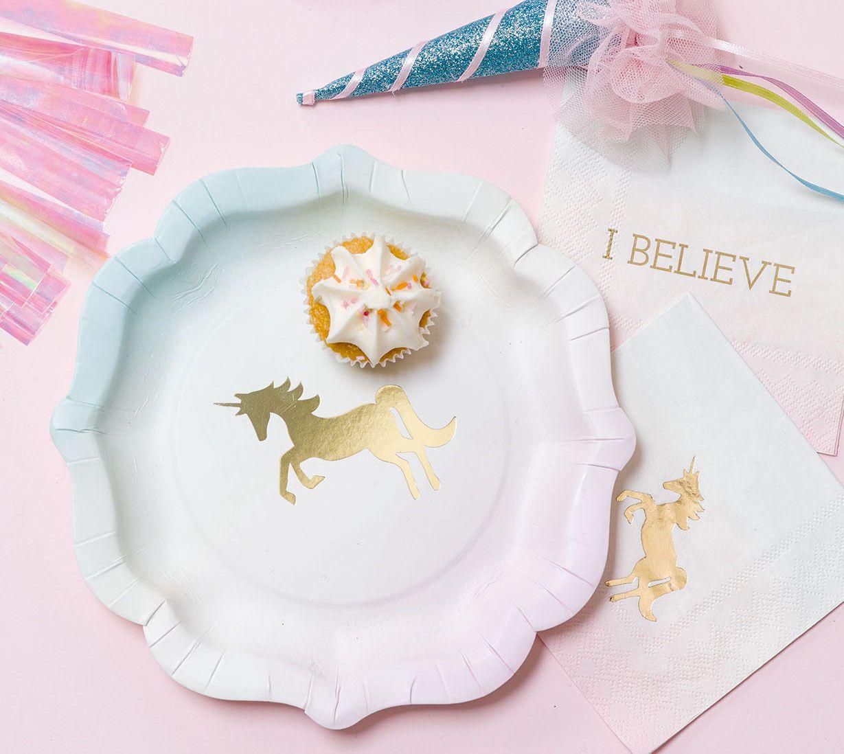 Gold Foil Unicorn Plates And Napkins