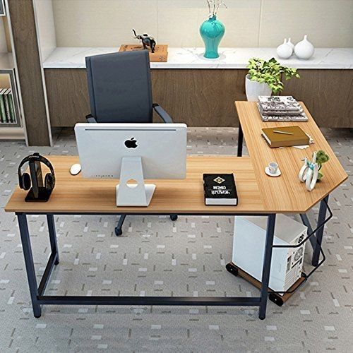 c8bc4a46cd Interfave 90° L-Shaped Desk Corner Latop Computer PC Study Office Table  Home Workstation Wood, Black