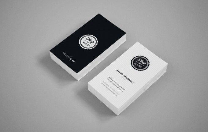 sharp hostel minimal classy business card design