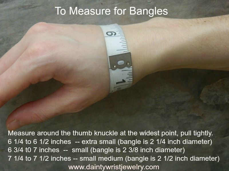The correct way to measure for a bangle fit. Remember, it