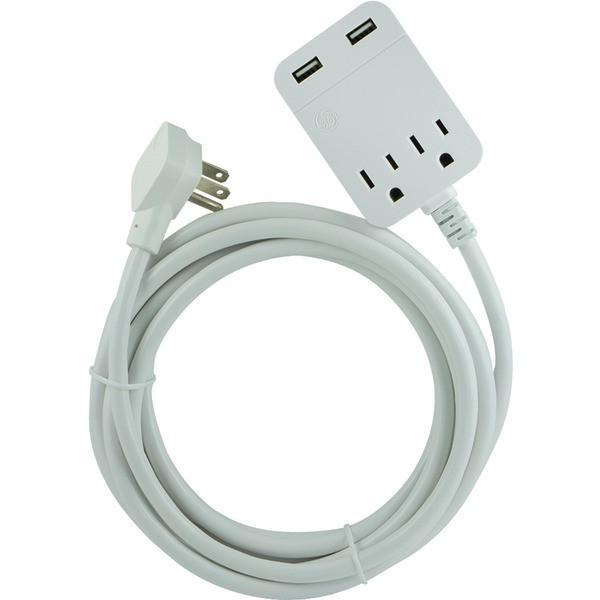 Ge 32089 Usb Extension Cord With Surge Protection 12ft Extension Cord Usb Cord