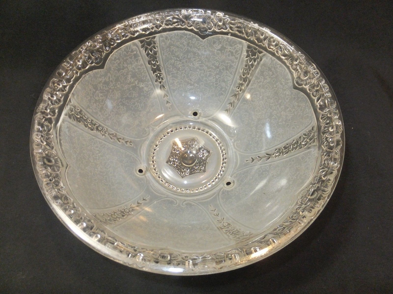 Vintage Ceiling Glass Light Shade 1930 S Frosted Satin Creamy