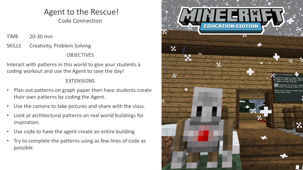 Activity Of The Week Agent To The Rescue Minecraft Education Edition Minecraft Activities Stem Classroom Activities