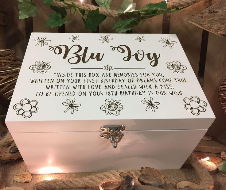 Luxury white time capsule box, Baby memory box, Keepsake box, New baby gift, Birth box, Custom memory box, White wooden keepsake box, #firstbirthdaygirl