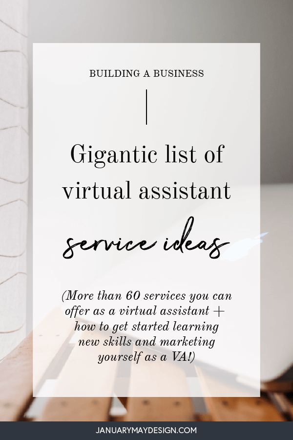 Here's a massive list of virtual assistant services to offer your clients! There are tons of virtual assistant service ideas here, so grab a cup of your fav hot drink and pick through this list until you've found a list of ideas you love. Adding virtual assistant services to your offering as a new VA is tough - start here! #virtualassistantideas #howtobecomeaVA #va #virtualassistant