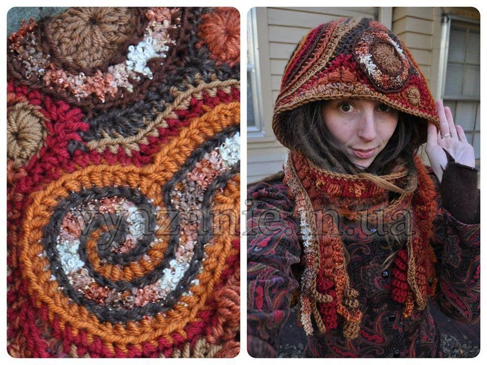 Шарф-капюшон крючком   ШАРФЫ и ШАПКИ   Pinterest   Freeform crochet ...