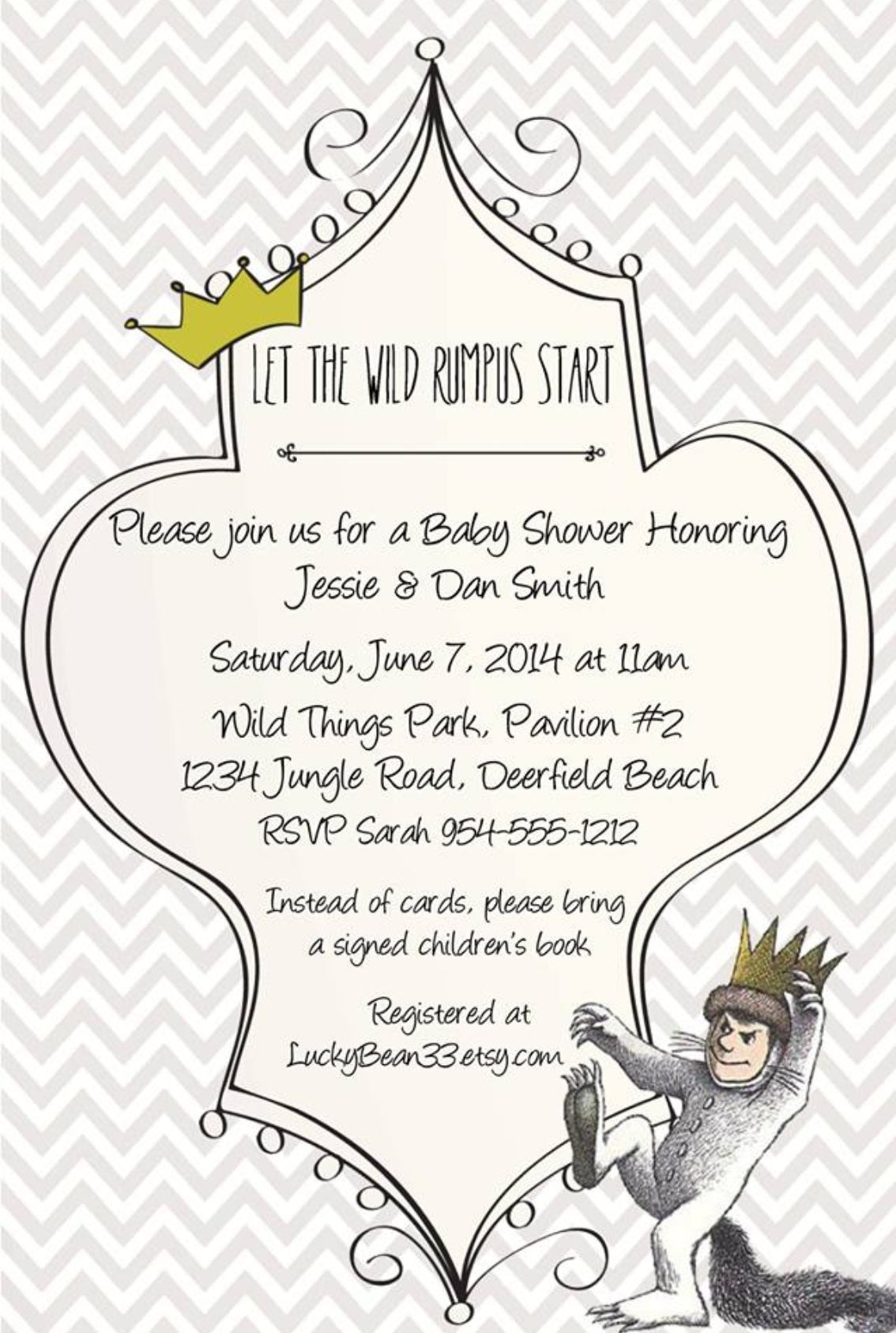 Where The Wild Things Are Invitation Template Www Luckybean33 Etsy