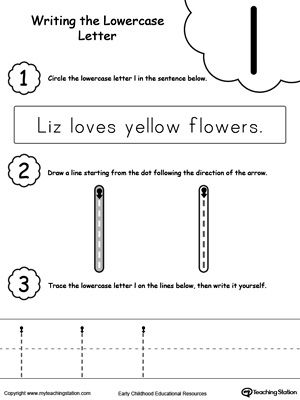 Writing Lowercase Letter L  Worksheets Activities And Literacy
