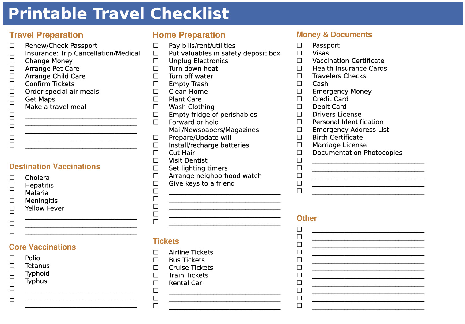 printable travel packing list