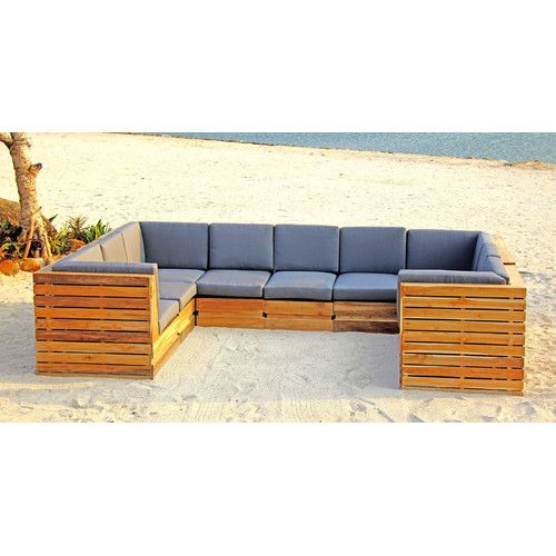 Seaside 9 Piece Teak Sunbrella Sectional Set With Cushions Cushions Seating Groups Sectional