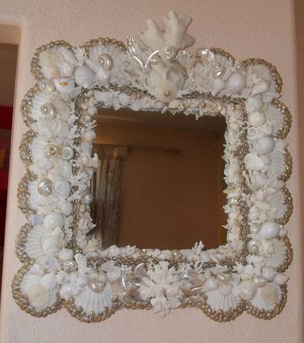White Pearl Seashell Encrusted Cape Cod Style Square Mirror 25\