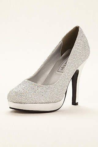 Glitter Candice Wedding & Bridesmaid Platform Pump by Touch Ups - Silver, 9  Women's