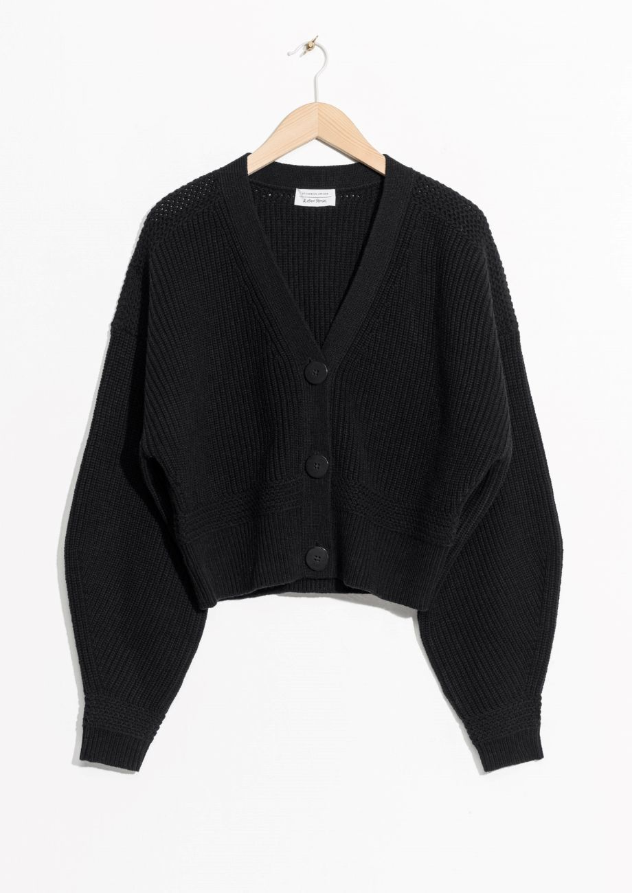 766d8a6ac   Other Stories image 1 of Wool Button Sweater in Black ...