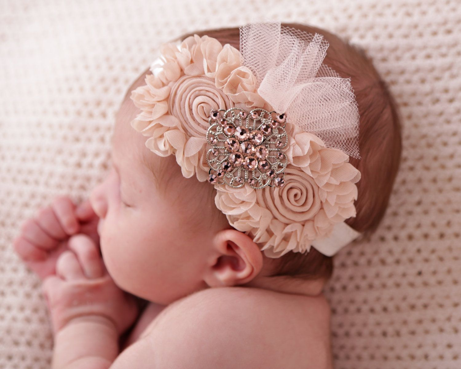 Items Similar To Chic Baby Fabric Flower Headband Peachy Color Newborn Baby Girl Girls Photogra Fabric Flower Headbands Fabric Flowers Baby Girl Headbands