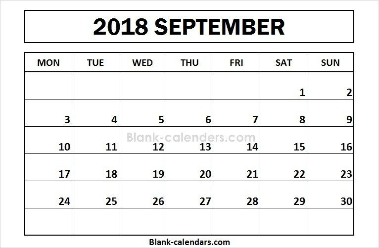 Printable September 2018 Calendar Monday Start Calendar 2018
