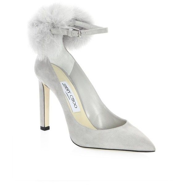 Jimmy Choo South Fox Fur PomPom  Suede AnkleStrap Pumps (59.345 RUB) ❤ liked on Polyvore featuring shoes, pumps, grey, jimmy choo, gray suede pumps, grey suede pumps, gray shoes and suede shoes