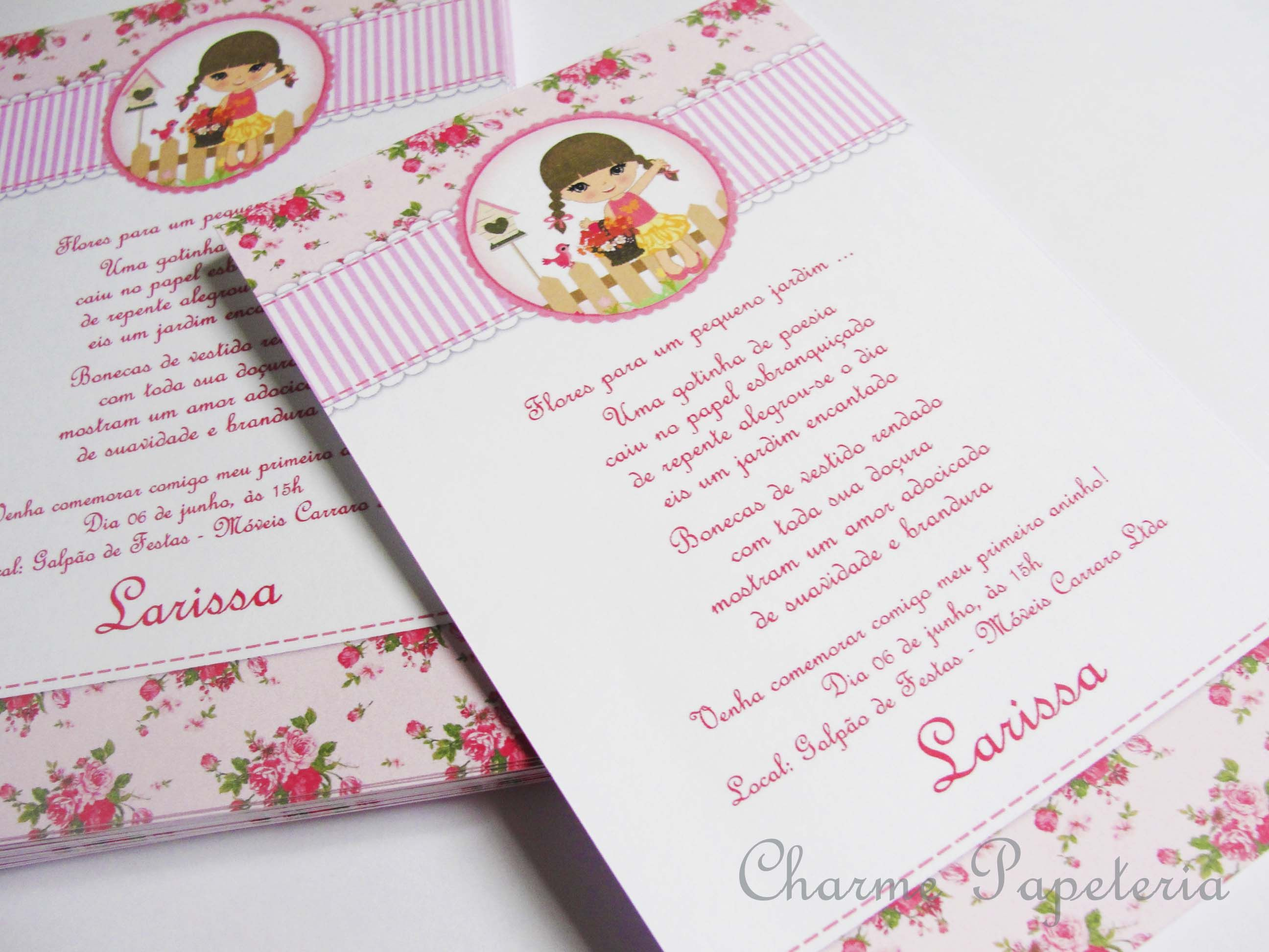 Convite Boneca - Charme Papeteria #convite #boneca #jardim #personalizado #floral #rosa #flores #jardimdasbonecas
