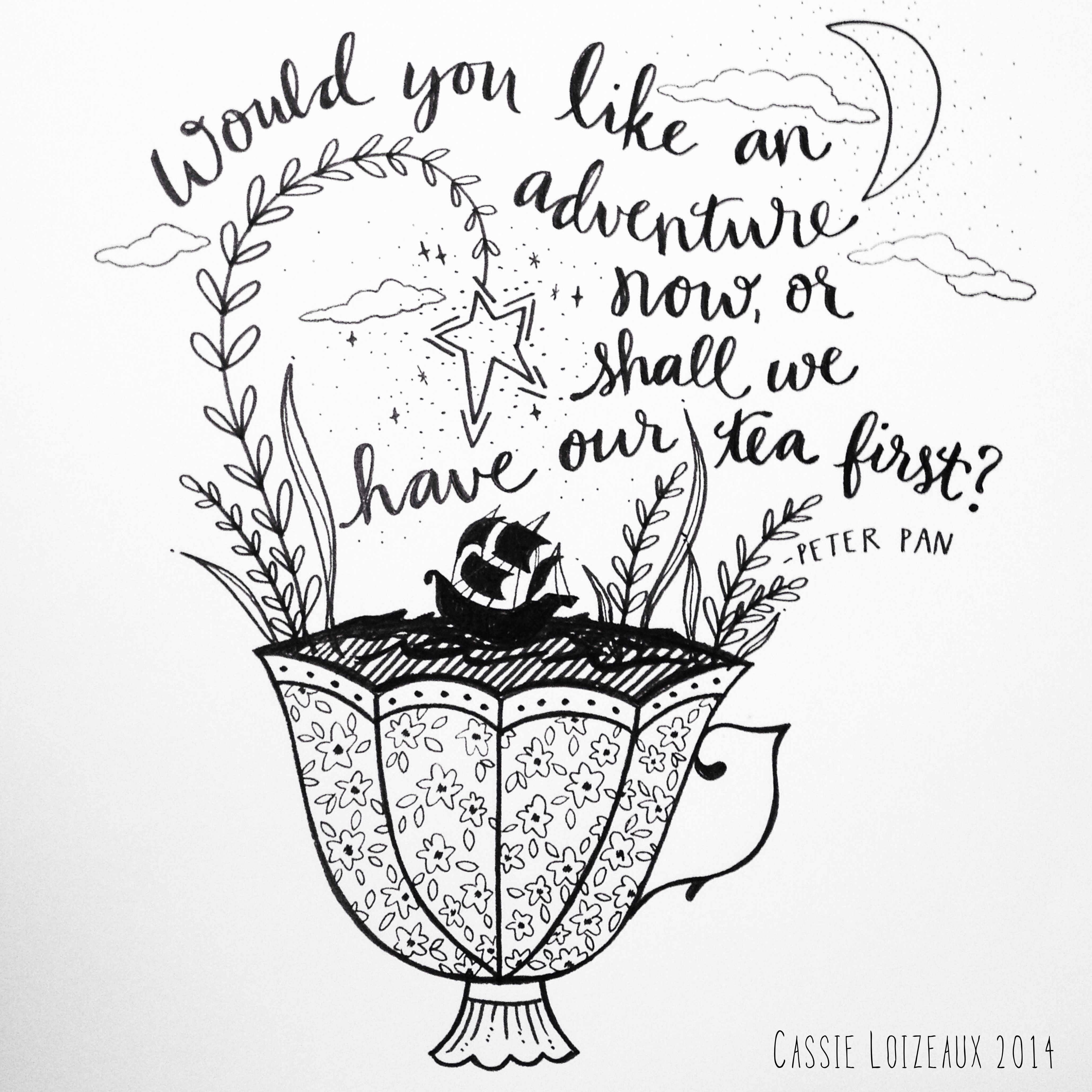 Adventure Now. Day 104 of yearlong sketchbook project. Cassie Loizeaux