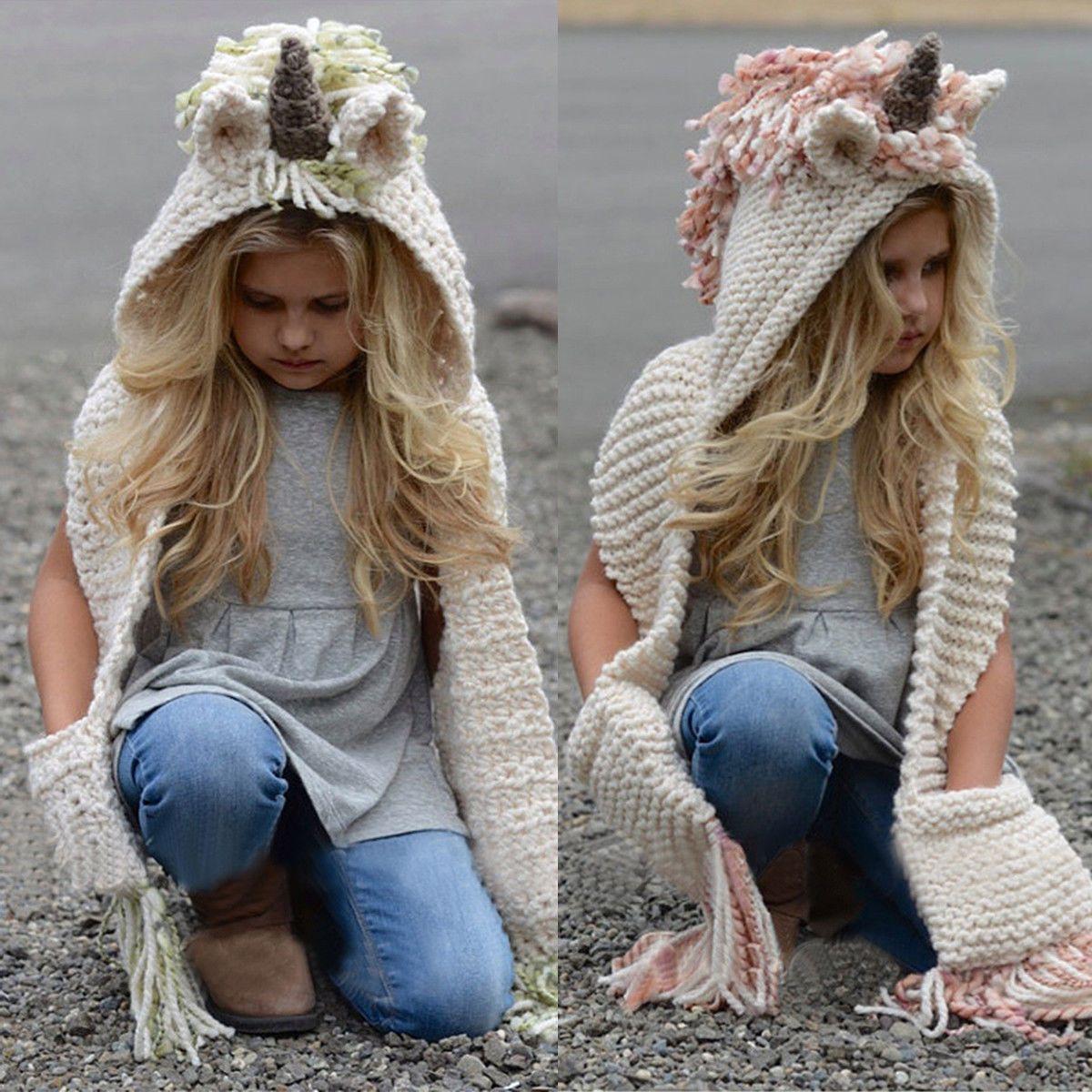 f9266f3f1fc  10.04 - Girls Crochet Knitting Unicorn Hooded Scarf Fox Hat Hoodie Animal  Chunky Beanie  ebay  Fashion