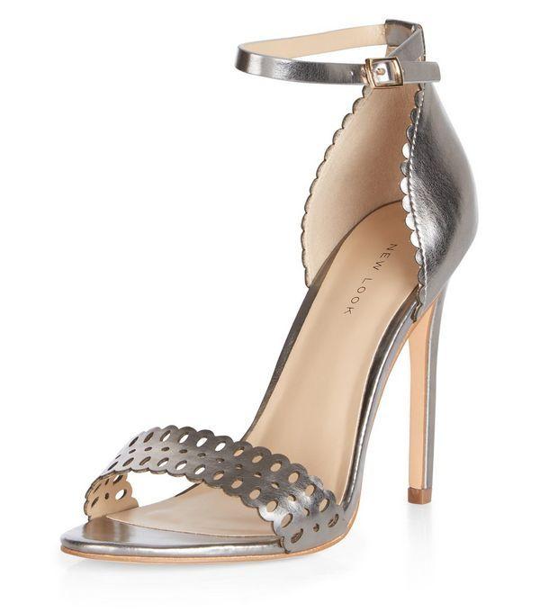 Sandales argenté foncé à talons et découpes au laser   New Look   S ... d7f3a257a3d6