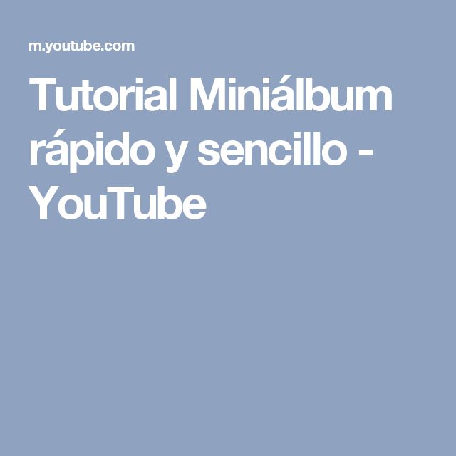 Tutorial Miniálbum rápido y sencillo - YouTube