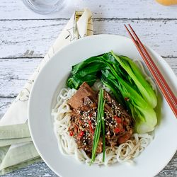 Slow Cooked Korean-style Short Ribs with Noodles. Bliss in a bowl.