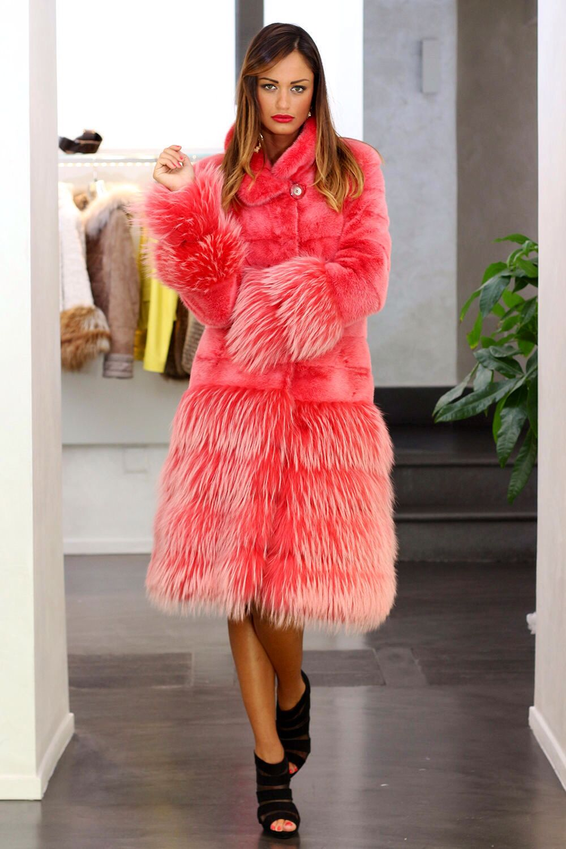 Rose Dyed Mink & Fox Fur Coat