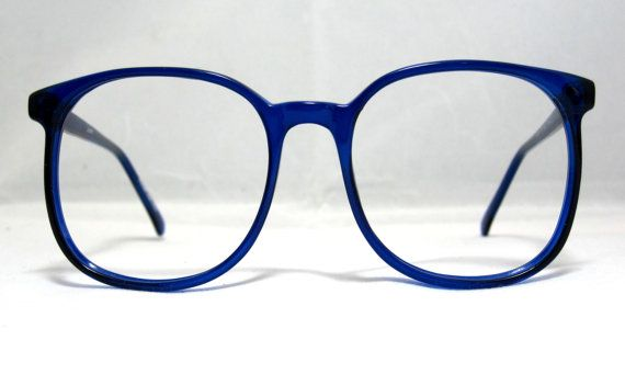 754525f819 Vintage 80s Square Oversized Eyeglass Frames. They are a transparent Cobalt  Blue color. They