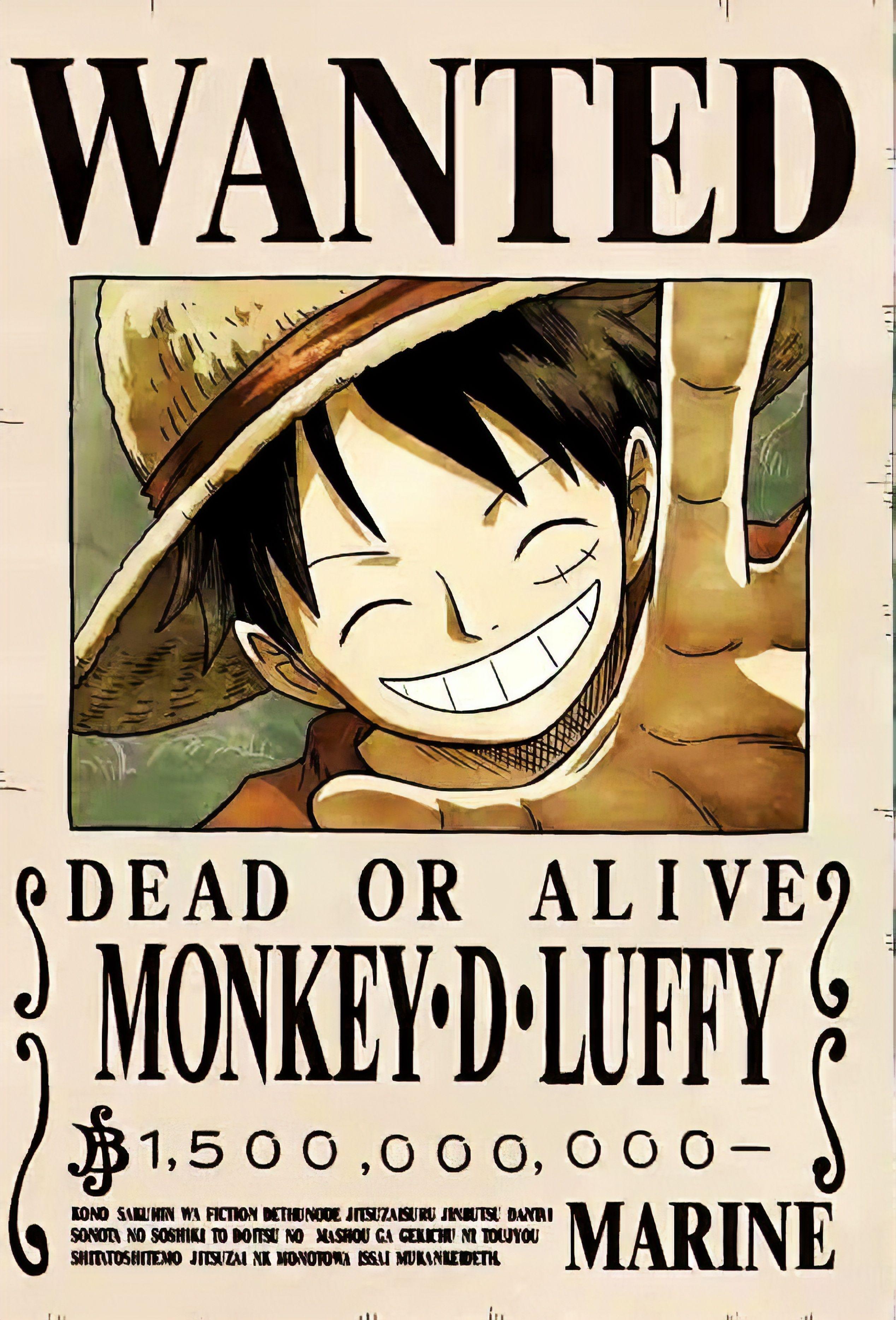 Luffy 1 5 Billion Bounty Poster 4k Topi Jerami Kartun Seni Anime