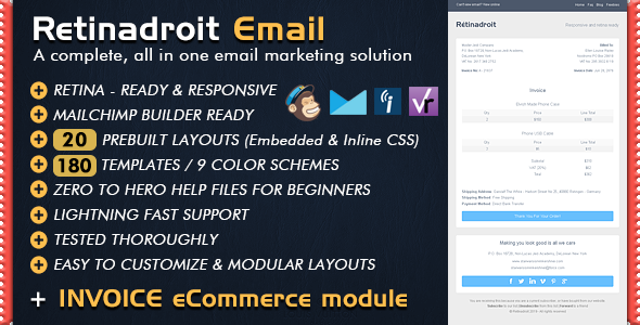Responsive Email Template Invoice Template Mailchimp Email - Mailchimp ecommerce templates