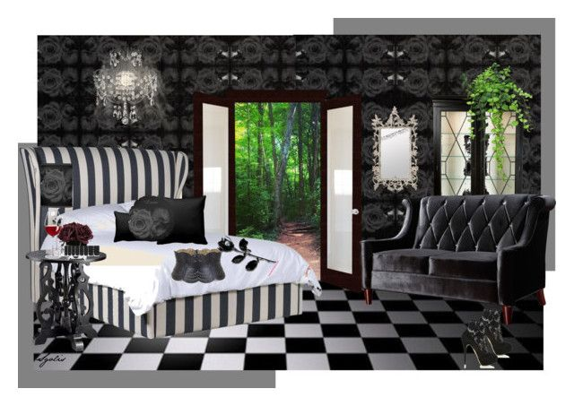 """""""Black Rose Wallpaper"""" by sgolis ❤ liked on Polyvore featuring interior, interiors, interior design, home, home decor, interior decorating, Polaroid, Ethan Allen, Armen Living and Gallery"""