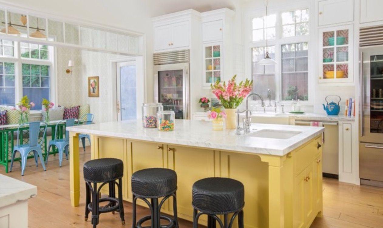 White Kitchen With Yellow Island Instaimage