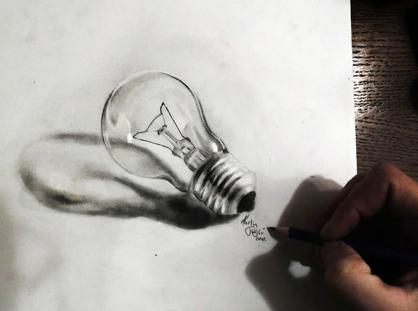 Illusion: These are the realistic and three-dimensional drawings of Martin Frljic.   http://illusion.scene360.com/art/43209/pencil-art-turn-on-the-light/