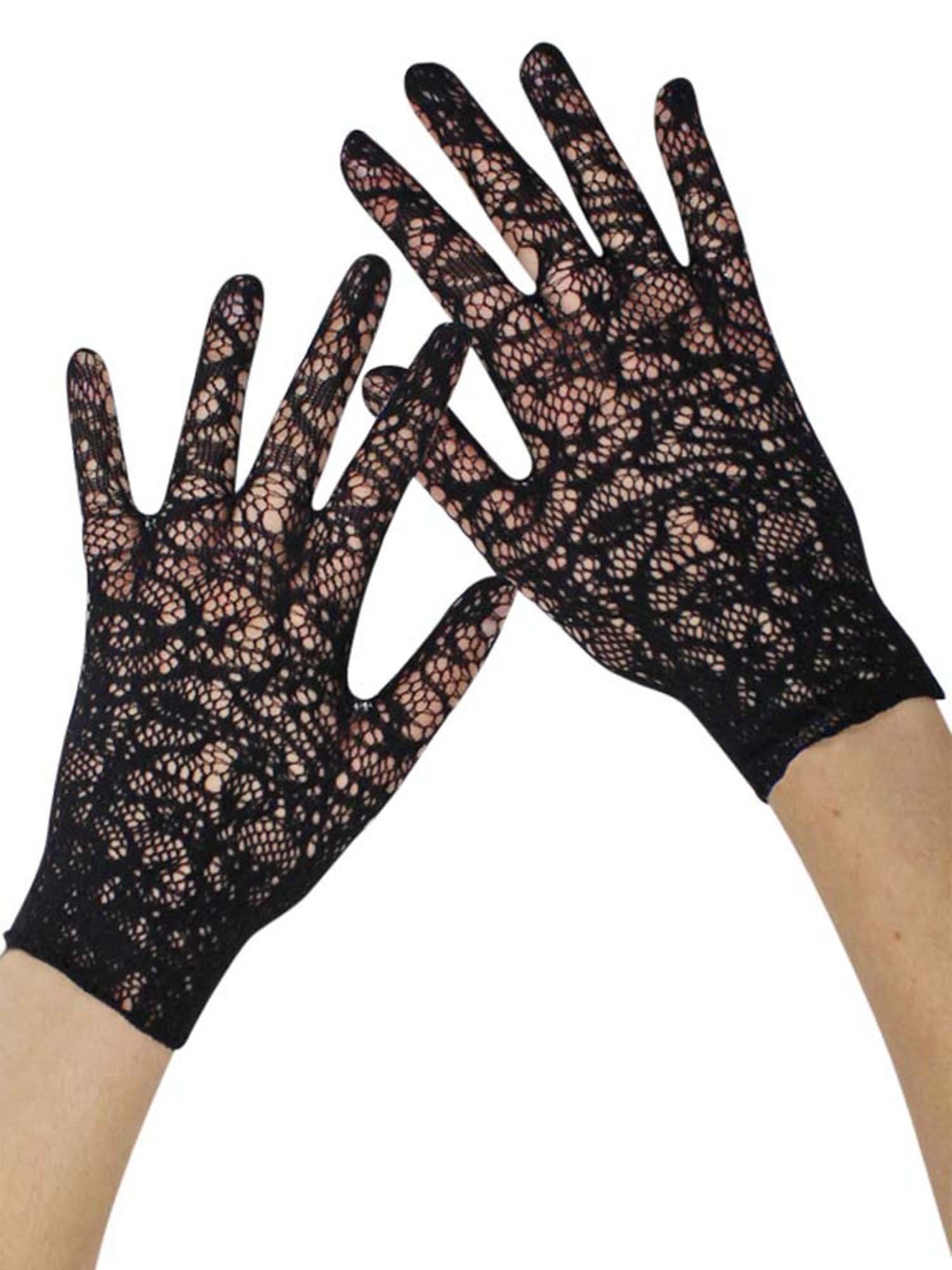 afb7a255d Womens Black Vintage Lace Fancy Wedding Wrist Gloves | Gloves & Arm ...