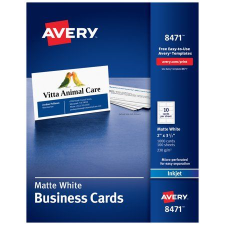 Avery 2 X 3 5 Business Cards Sure Feed 1 000 Cards 8471 Walmart Com Avery Business Cards Printable Business Cards Business Card Template Word