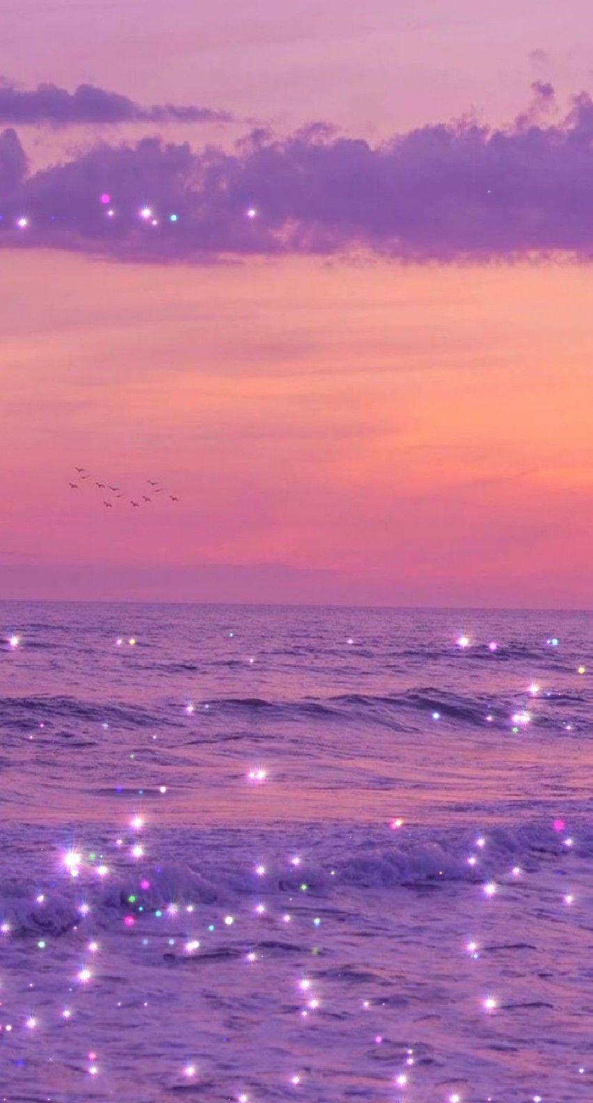 Purple Dusty Peach Orange Purple Filter Favorite Sparkle Wallpaper Aesthetic Wallpapers Purple Glitter Wallpaper