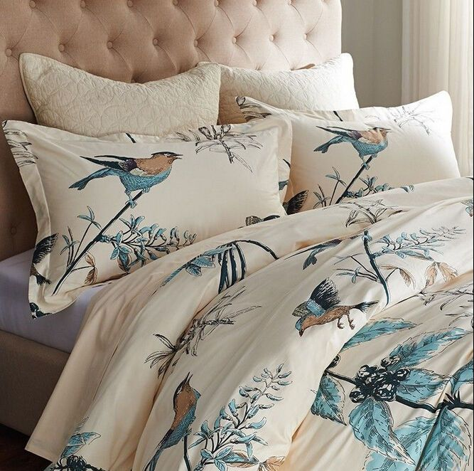 American Country Bird Print Duvet Cover Set Designers Beige Floral Bedding  Sets #FADFAY #Modern