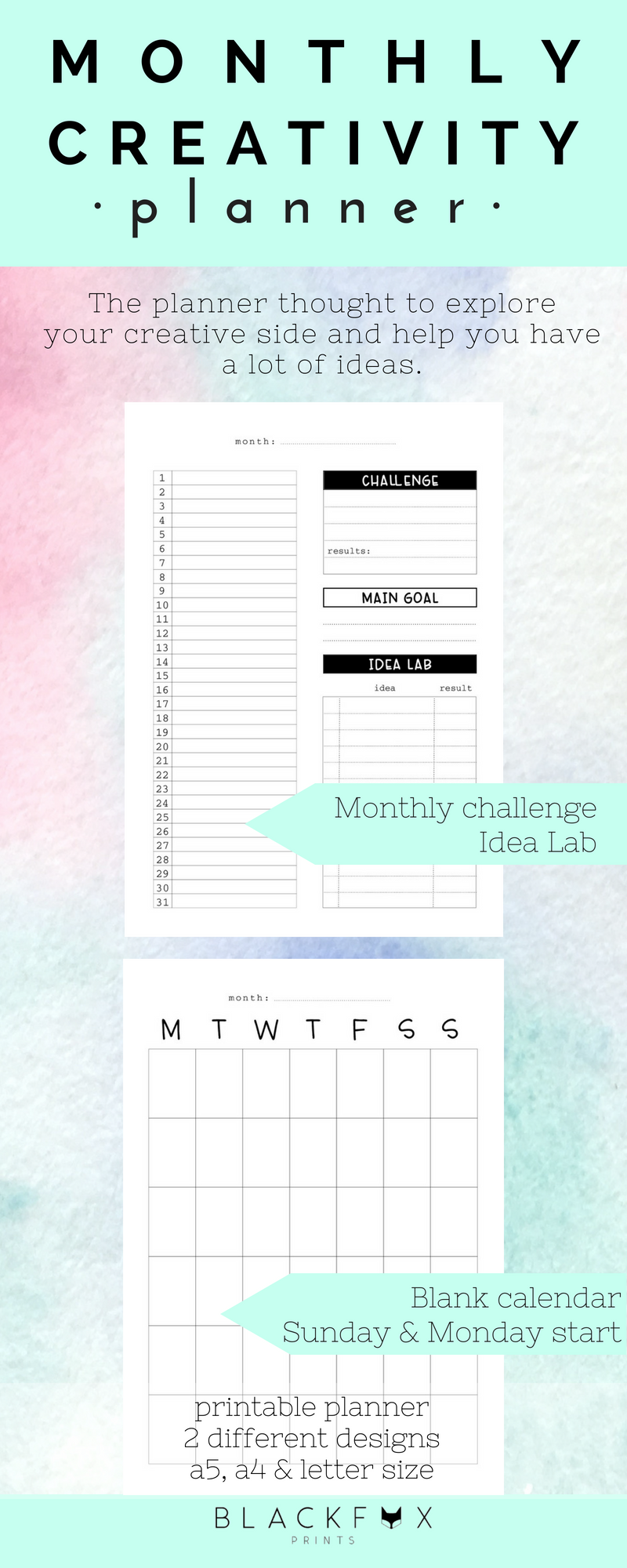 printable planner creative monthly planner digital download a5