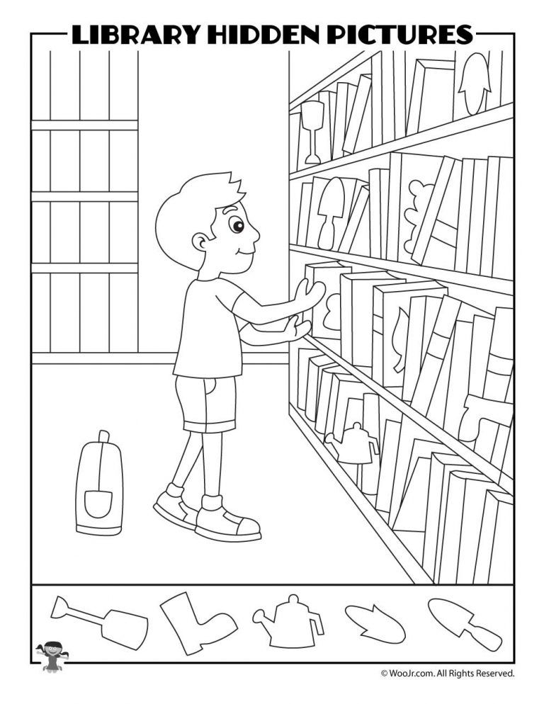 Books On The Shelves Find The Item Woo Jr Kids Activities Library Activities Hidden Pictures Hidden Picture Puzzles