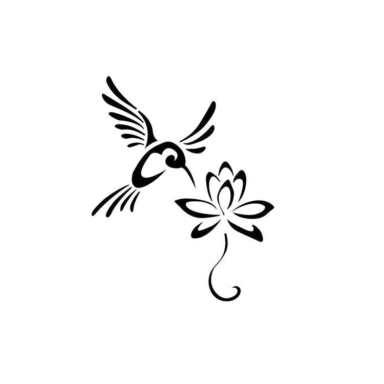 Hummingbird lotus flower digital file - SVG, PNG, JPG - Cricut & Silhouette