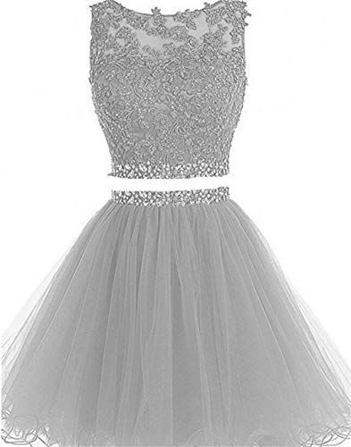 140eaf48e4 Dydsz Short Prom Dress Homecoming Party Dresses Juniors 2 Piece Beaded A  Line Cocktail Gown D127 Silver 14 Welcome To DydszDydsz Short Prom  Homecoming ...
