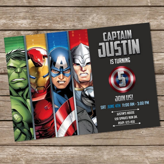 Avengers Birthday Invitation Hulk Invites Superheroes Personalized Pr
