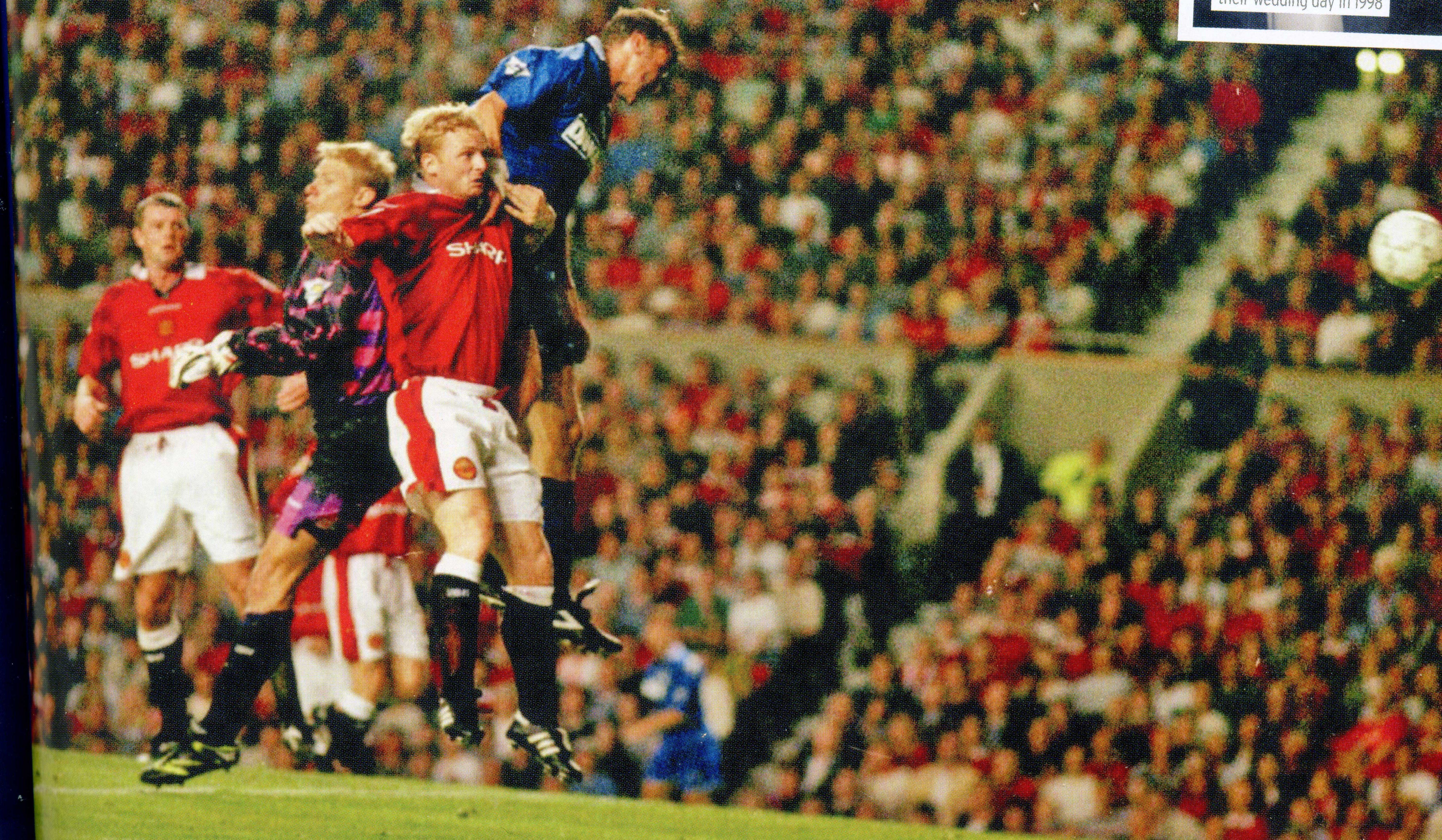 21 August 1996 Duncan Ferguson soars to meets a cross from Andy Hinchcliffe and head his second of the game at Old Trafford